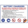 (FM2) Battery Charger Safety Rules Sign