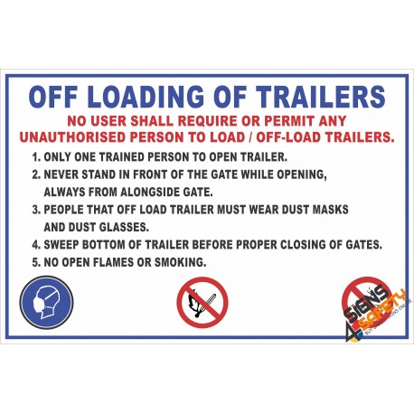 (FM3) Off Loading Of Trailers Safety Rules Sign