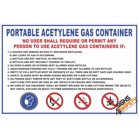 (FM4) Portable Acetylene Gas Safety Rules Sign