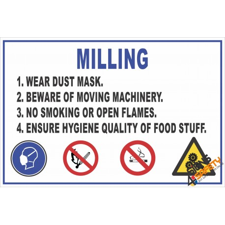 (FM8) Milling Safety Rules Sign