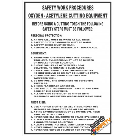 (FM10) Gas Cutting Equipment Safety Procedure Sign