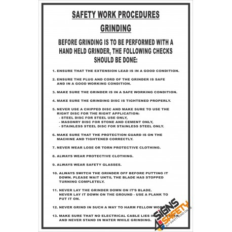 (FM11) Grinding Safety Procedure Sign
