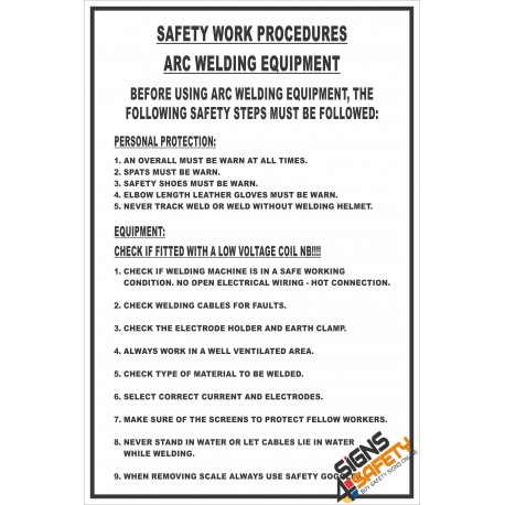 (FM12) Arc Welding Safety Procedure Sign