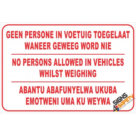 (FM15) No Person in Vechicle Weighbridge Safety Sign