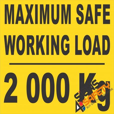 (FM45) Maximum Safe Working Load Sticker